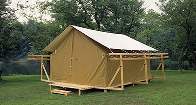 Permanent tents c tent fabric swatches for Permanent camping tents
