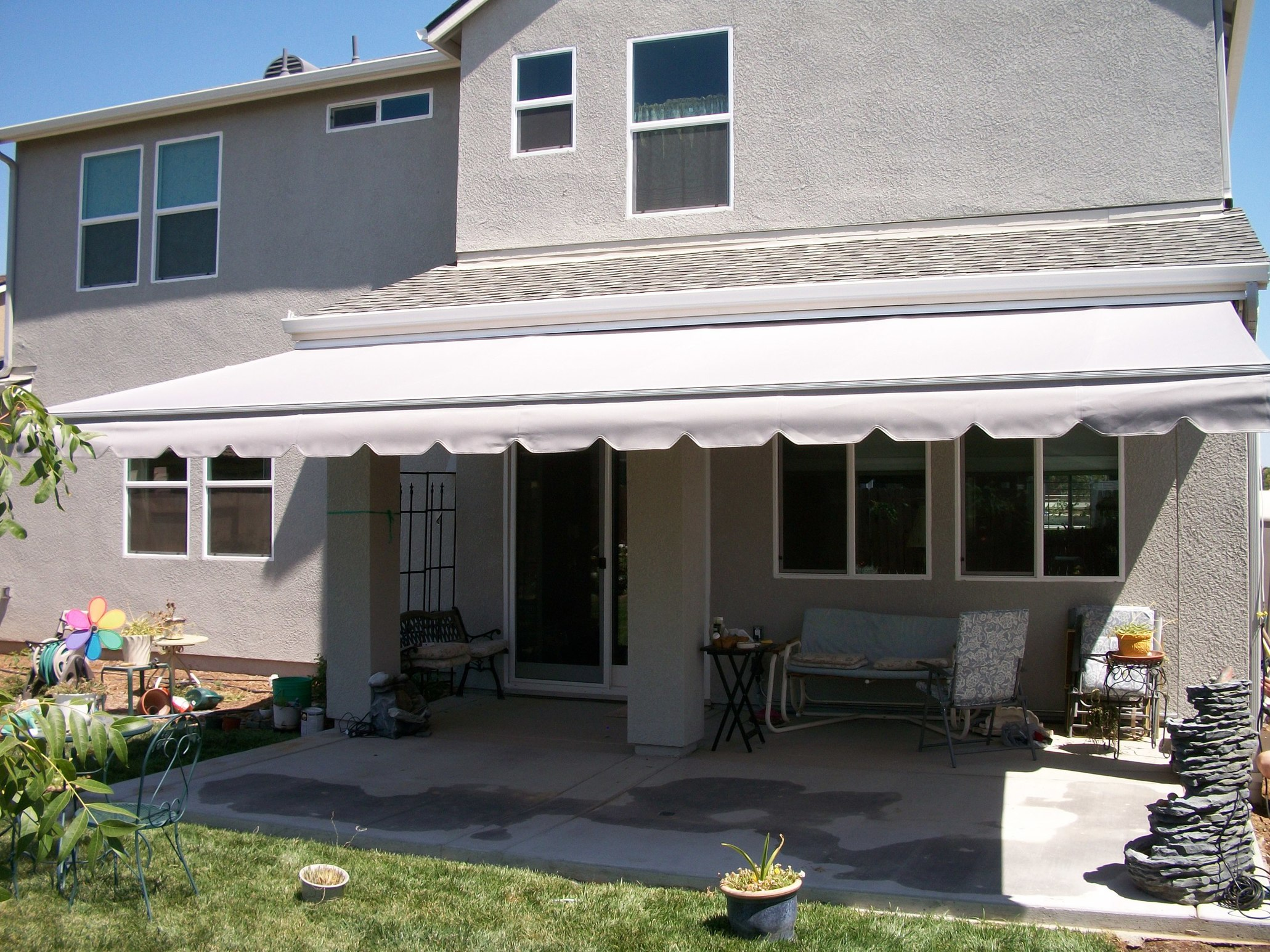 patio rolux garden ltd sun for house cream green stripe awnings awning domestic uk gallery